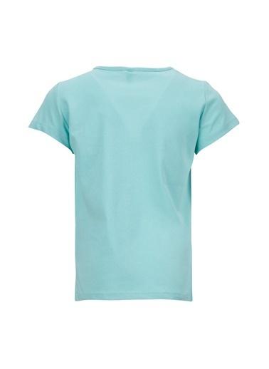 DeFacto Kız Çocuk Sevimli Kedi Baskılı Kısa Kol T-shirt Turkuaz